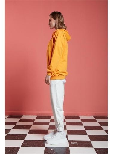Mizalle Basic Fermuarlı Mango Sweatshirt Renkli
